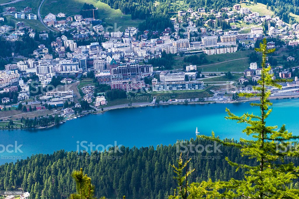 View of Sankt Moritz from above stock photo