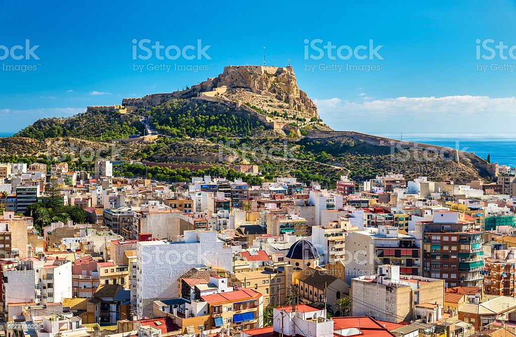 View of Santa Barbara Castle on Mount Benacantil above Alicante – Foto