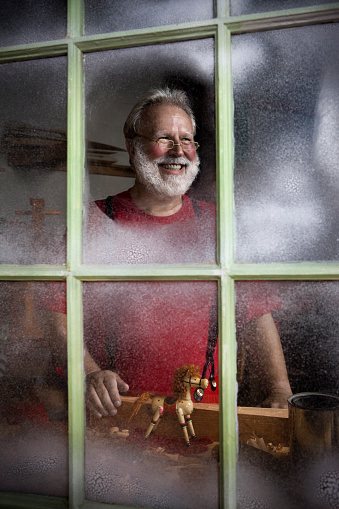 Antique Workshop with Cheerful Santa Claus Smiling, Copy Space