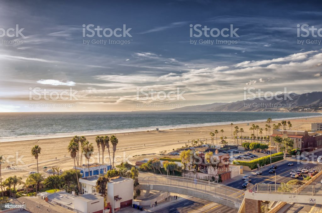 View of Santa Monica beach and Pacific Coast highway in Southern California stock photo