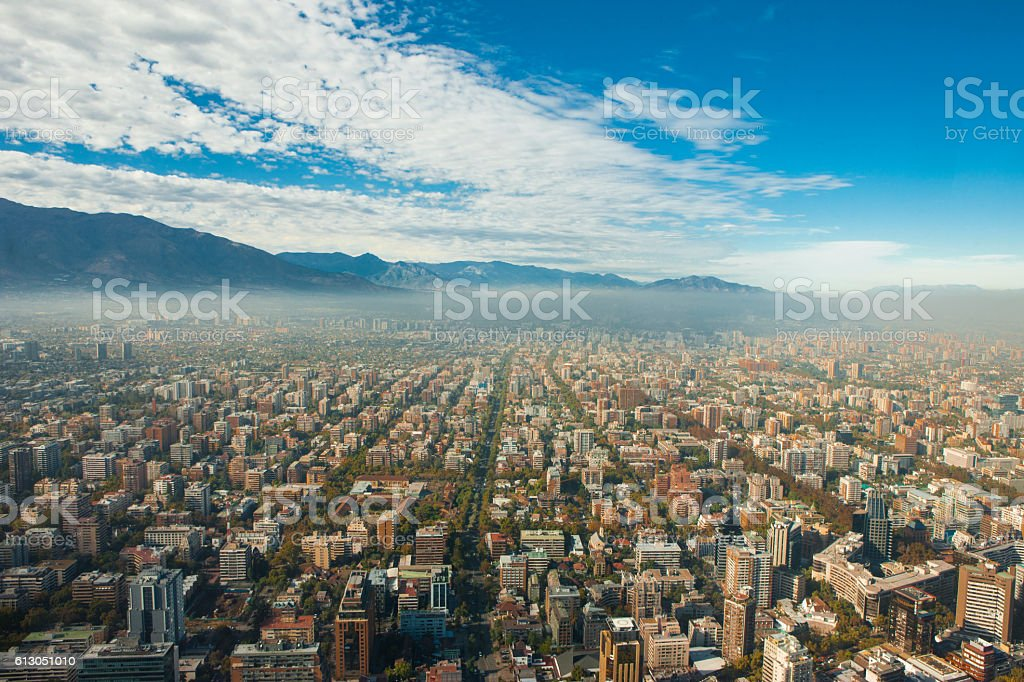view of Santiago from the Costanera Tower stock photo