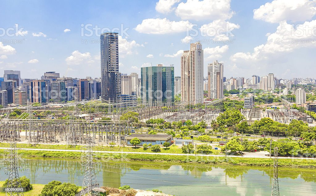 View of Sao Paulo and the river, Brazil royalty-free stock photo