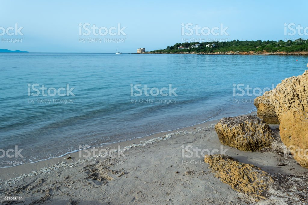 View of sardinian beach in the early morning stock photo