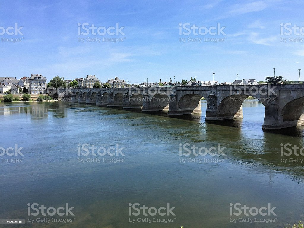 View of Saumur from the River Loire stock photo