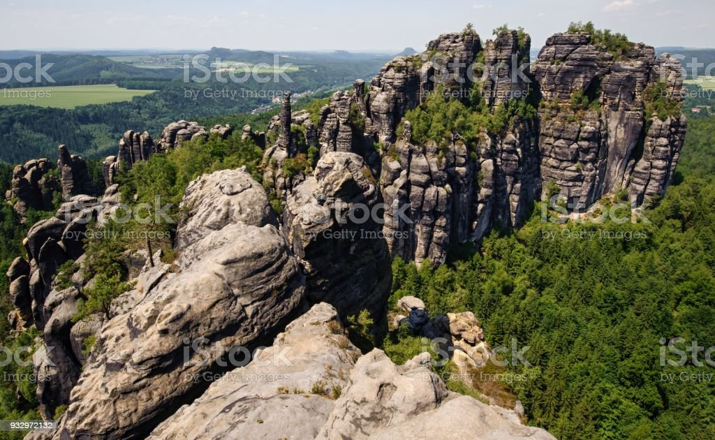 A view of schrammsteine and forests in Saxon Switzerland stock photo
