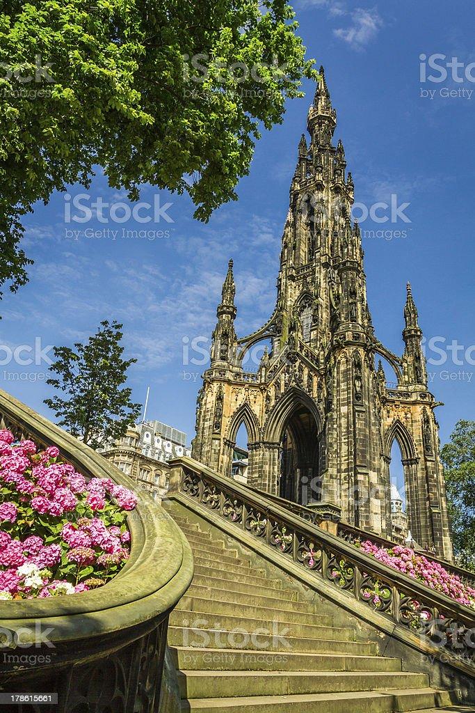 View of Scott Monument in Edinburgh stock photo