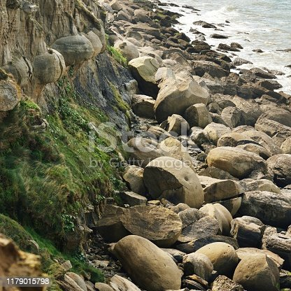 View of sea coast at Cap Gris Nez with round stone formations