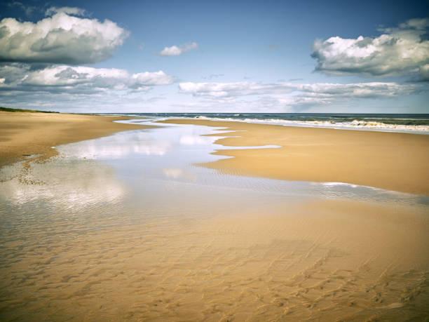 view of sea coast, sand beach and cloudy sky - estuário imagens e fotografias de stock