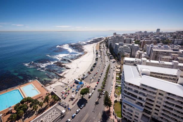 View of Sea Point in Cape Town, South Africa stock photo
