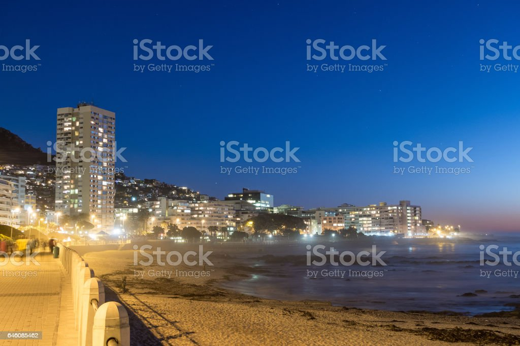 View of Sea Point Promenade at sunset stock photo