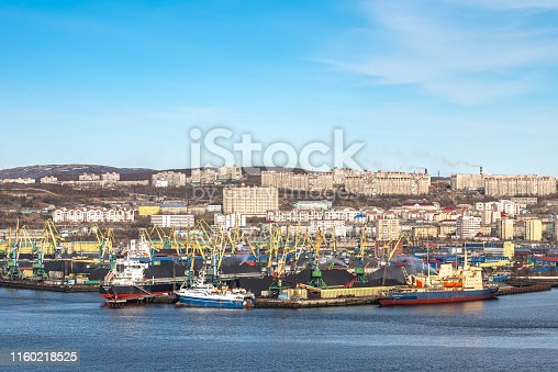 587773316 istock photo View of seaport of the Russian industrial city Murmansk 1160218525