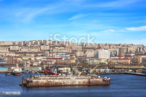 587773316 istock photo View of seaport of the Russian industrial city Murmansk 1160218526
