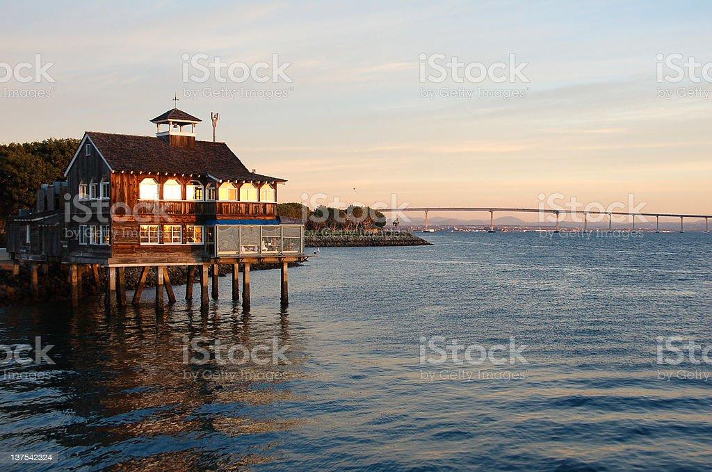 View of Seaport Village San Diego Bay and Coronado Bridge stock photo