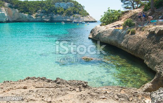 Rocky coastline with beautiful blue sea of