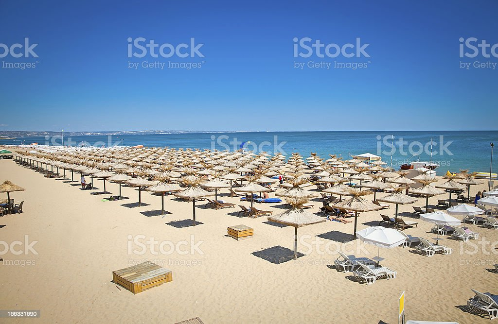 View of seaside umbrellas lined up on Varna Beach, Bulgaria stock photo