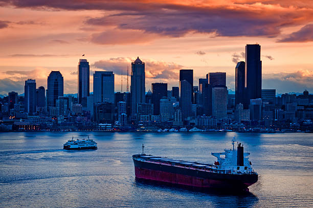 A view of Seattle from the harbor during sunrise