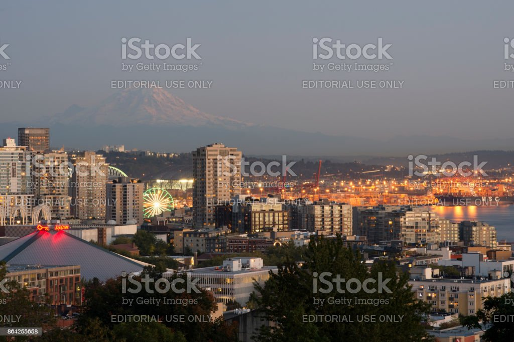 View of Seattle skyline and harbor at dusk royalty-free stock photo