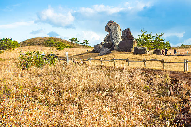 view of seopjikoji mountain jeju island, south korea - jeju island stock photos and pictures