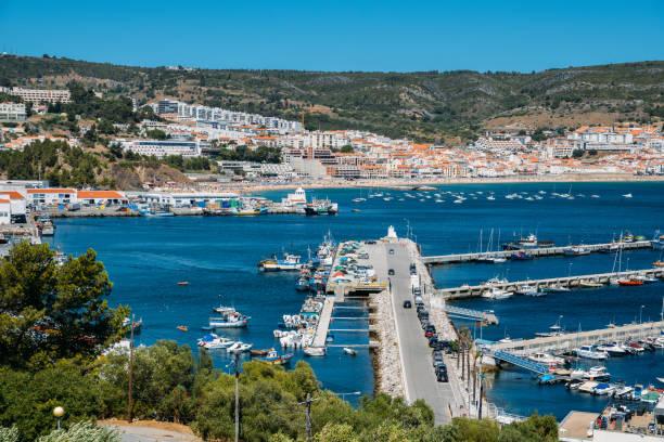 view of sesimbra, setubal portugal on the atlantic coast - setubal imagens e fotografias de stock