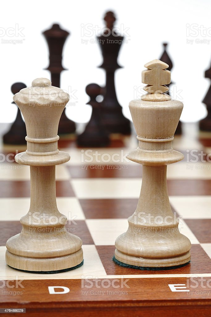view of set chess pieces from king and queen royalty-free stock photo