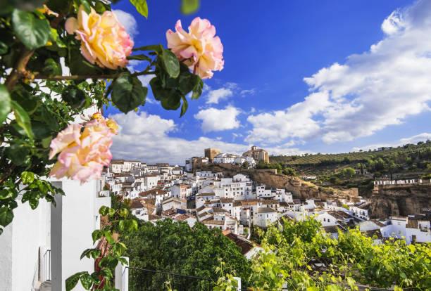 vue de setenil de las bodegas, andalucia, espagne - andalousie photos et images de collection