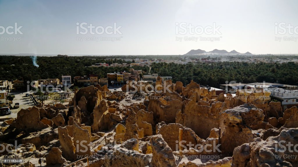 View of Shali old city ruins ,Siwa oasis in Egypt stock photo