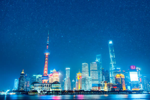 View of Shanghai Skyline at night View of Shanghai Skyline at night huangpu river stock pictures, royalty-free photos & images