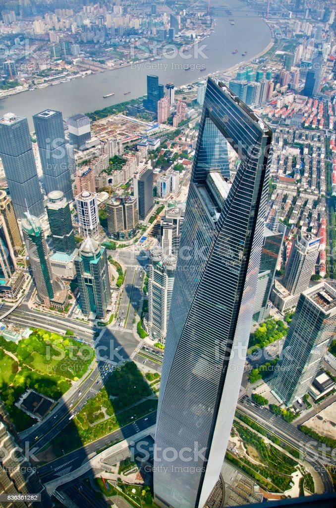 View of Shanghai World Financial Center from the top of Shanghai Tower stock photo