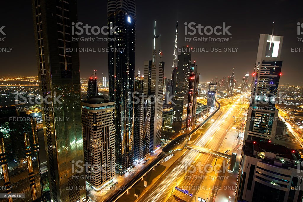View of Sheikh Zayed Road skyscrapers in Dubai stock photo