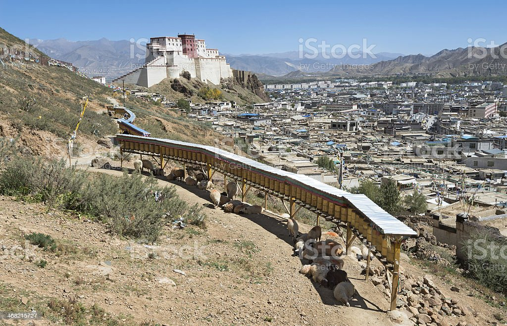 View of Shigatse city in Tibet stock photo