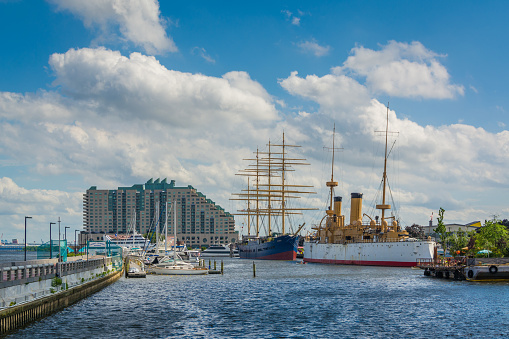 View of ships and buildings at Penns Landing, in Philadelphia, Pennsylvania