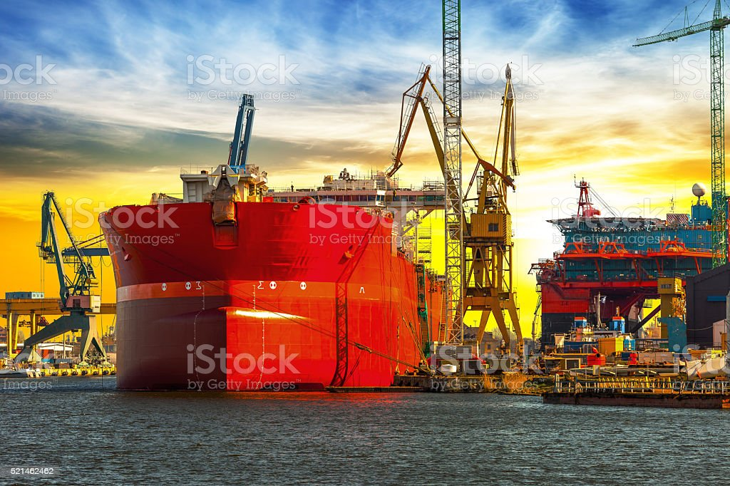 View of shipyard stock photo