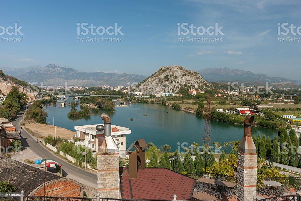 A view of Shkondra city against blue sky stock photo