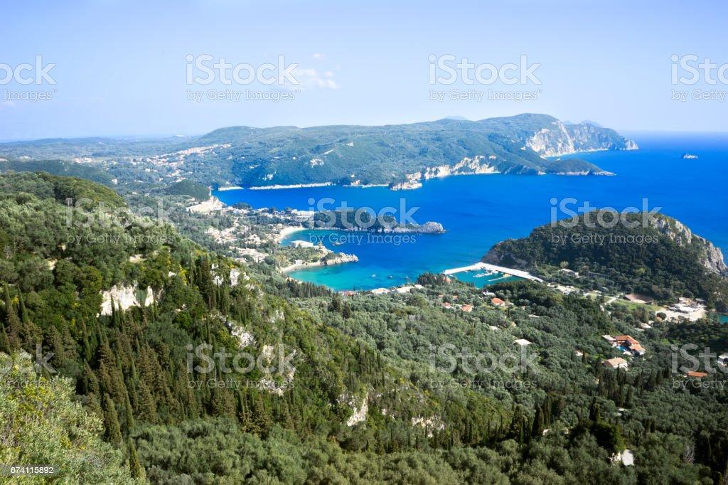 View of shores from Lakones. Palaiokastritsa bay on Corfu island, Greece 免版稅 stock photo