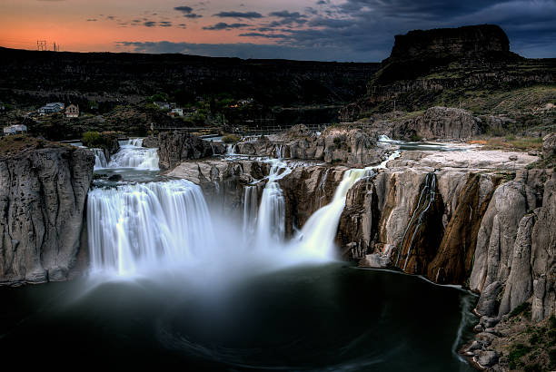 View of Shoshone Falls in Idaho at sundown stock photo