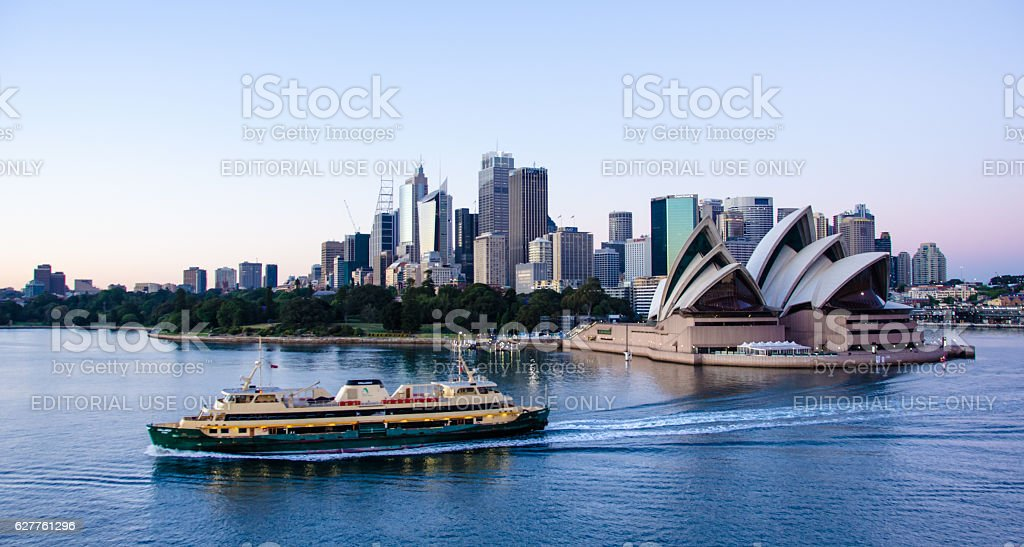 View of Sidney Opera House and city skyline at dawn stock photo