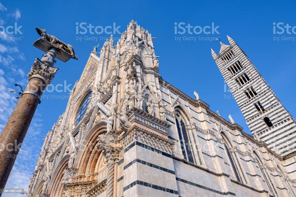 View of Siena Cathedral Santa Maria Assunta (Duomo di Siena) in Siena, Tuscany, italy. stock photo
