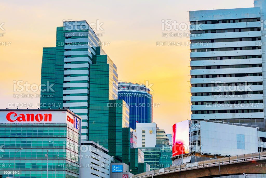 View of Silom financial district architecture stock photo