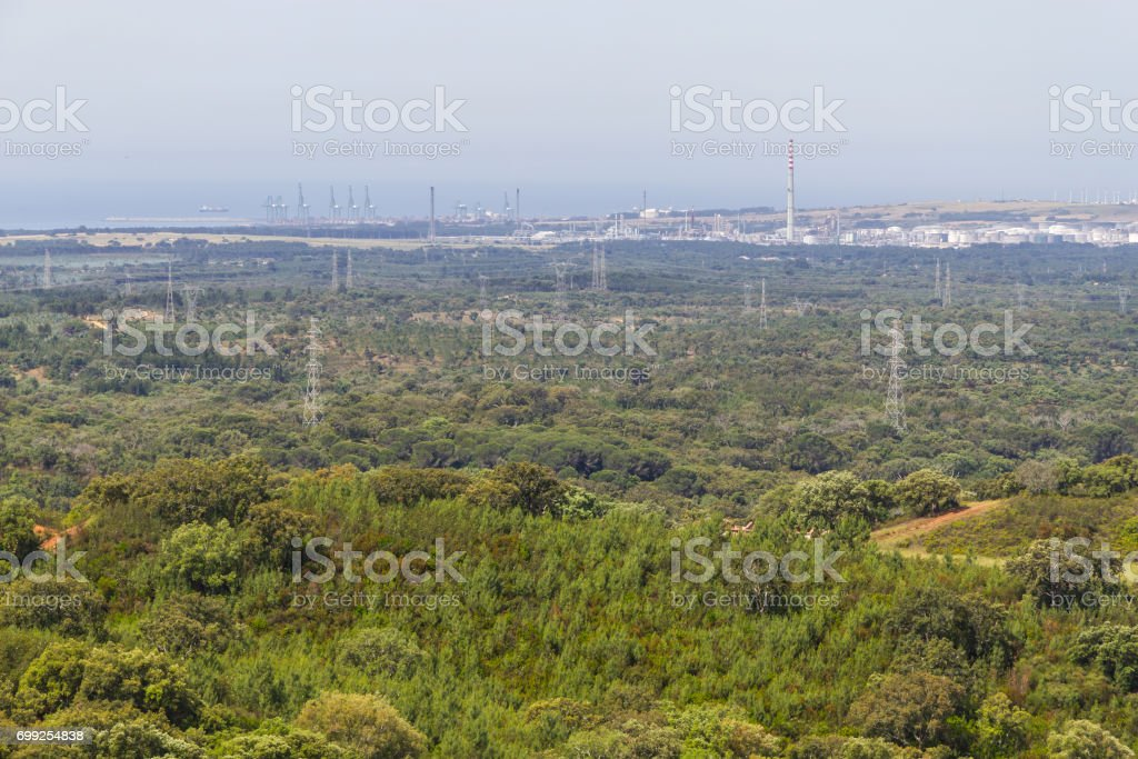 View of Sine power station and port in Santiago do Cacem stock photo