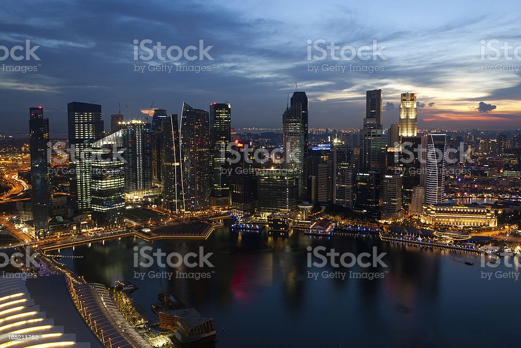 View of Singapore skyline from Marina Bay Sands royalty-free stock photo