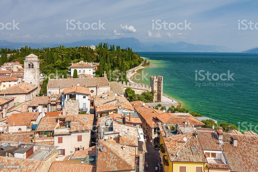 View of Sirmione from Rocca di Sirmione, Lombardia region, Italy. stock photo