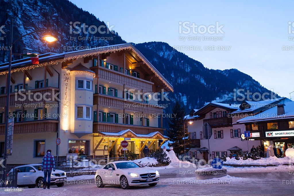 View of ski resort in Alps stock photo