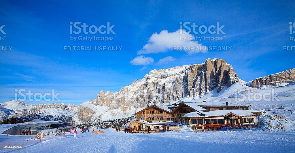 View of ski resort in Alps stock photo