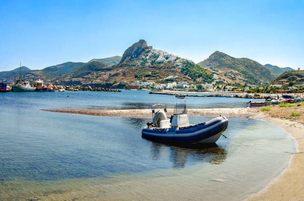 View of Skiros island, located in Sporades, Greece. stock photo