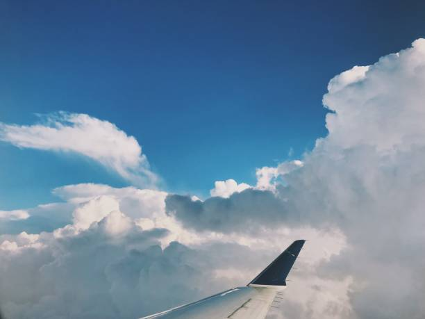 View of sky from airplane. stock photo
