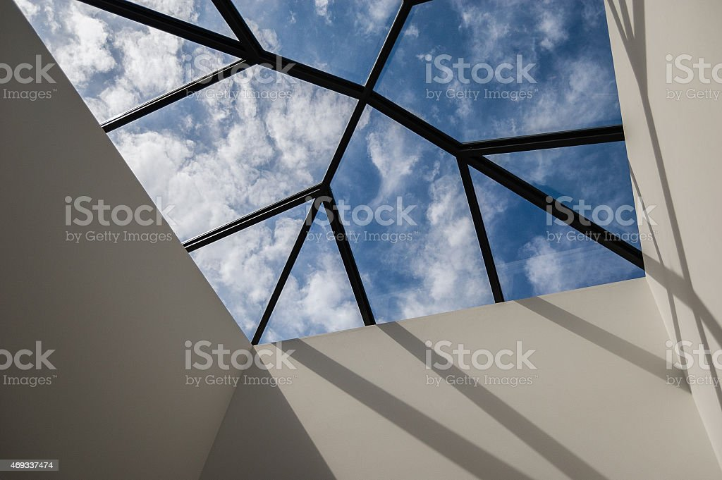 View of sky through a contemporary skylight royalty-free stock photo