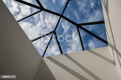 Snow falling on a roof and covering the skylight