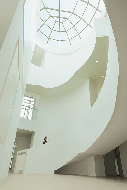 view of skylight and atrium in building - bogen bauen stock-fotos und bilder
