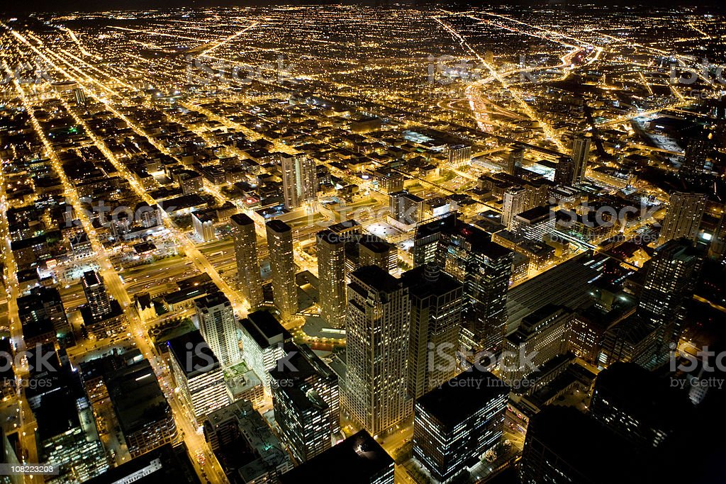 View of Skyline Chicago Downtown and Suburbs at Night royalty-free stock photo