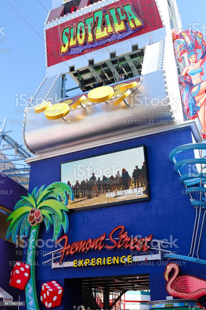 View of Slotzilla zip line at the Fremont Street Experience stock photo
